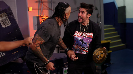 Bad Bunny and WWE superstar Damian Priest celebrate 24/7 Championship win on Raw