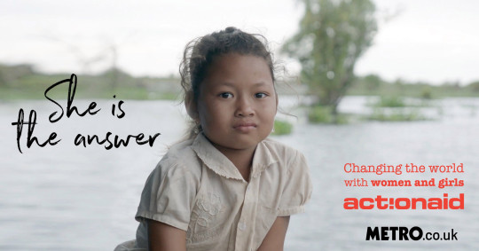 A young girl sits in front of a flooded river. On the image are the logos for Metro.co.uk, ActionAid and She Is The Answer
