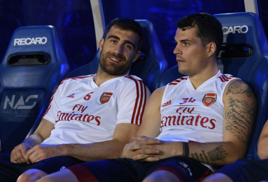 Sokratis and Granit Xhaka of Arsenal during the Arsenal Training Session on February 08, 2020 in Dubai, United Arab Emirates.