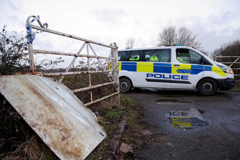 Police are seen at the Great Chart Golf & Leisure Country Club, as the investigation into the disappearance of Sarah Everard continues, in Ashford, Britain, March 11, 2021. REUTERS/Paul Childs