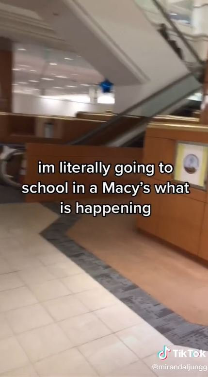 Student shows what it's like to go to school in a former Macy's department store