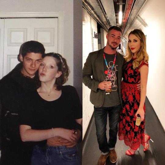 Split image of Katheryn Ryan and Bobby Kootstra, one from when they were young and a recent pic of the pair posing together