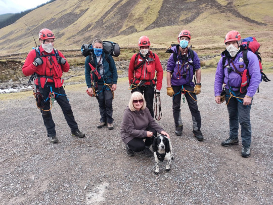 Louis the Spaniel with the Moffat Mountain Rescue Team and owner Helen McKean after plunging 300ft down at Grey Mares Tail waterfall near Moffat in Dumfries and Galloway,on his first hillwalk - and miraculously survived. See SWNS story SWSCrescue. A spaniel who plunged 300ft down a waterfall on his first hillwalk and miraculously survived will be sticking to flat terrains in future. Louis, a 15-month-old Springer spaniel, was feared to have died when he vanished from sight while out for a walk at Grey Mares Tail waterfall near Moffat in Dumfries and Galloway, at 12.30 last Wednesday (April 14). Owners Helen McKean, 55, and husband David, 56, faced an agonising five-hour wait while the naughty pooch was rescued. For 45 minutes they believed their dog had died - until he started barking.
