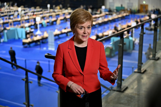 Scottish First Minister Nicola Sturgeon arrives at Glasgow counting centre in the Emirates Arena in Glasgow, Scotland, Britain May 7, 2021. Jeff J Mitchell/Pool via REUTERS