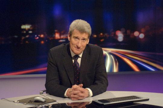 Jeremy Paxman behind the desk on the set of Newsnight