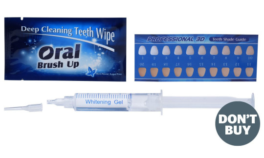Oral Orthodontic Materials' teeth-whitening gel. Some at-home teeth-whitening kits have more hydrogen peroxide in them than is legally allowed, putting users' gums and teeth at risk.