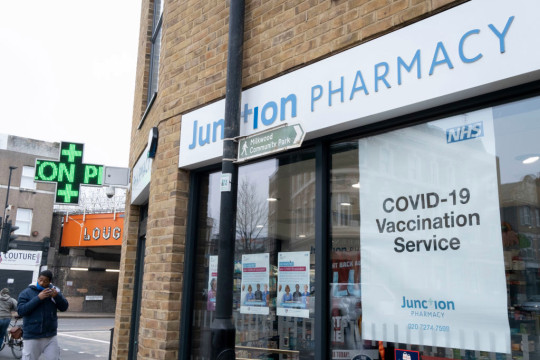 Covid Vaccinations Poster Outside London Pharmacy