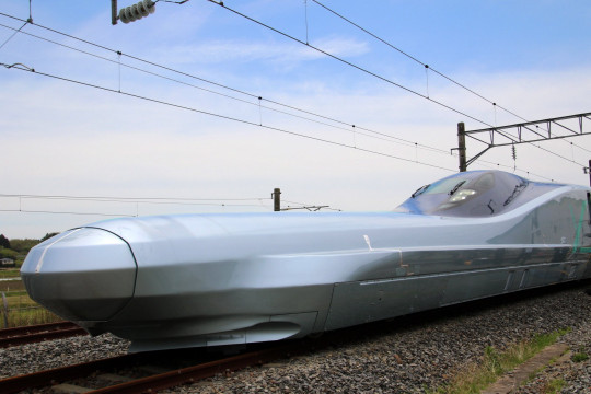 Next generation Shinkansen bullet train vehicle Car 10 of ALFA-X of East Japan Railway Company (JR East) during a media day in Rifu, Miyagi Prefecture, northern Japan, 09 May 2019. JR East will start driving test of the vehicle ALFA-X on 10 May 2019 to reach to commercial operation at 360km/h, which speed will be the world's fastest as a Shinkansen bullet train. EPA/JIJI PRESS JAPAN OUT EDITORIAL USE ONLY NO ARCHIVES