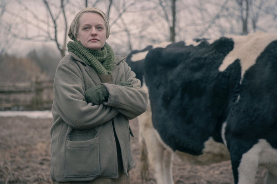 The Handmaid?s Tale -- ?Pigs? - Episode 401 -- On the run after the end of Season 3, an injured June and the fugitive Handmaids find refuge at a farm, where the 14-year-old Wife nurses June back to health. June restores her role as the women?s leader. June (Elisabeth Moss), shown. (Photo by: Jasper Savage/Hulu)